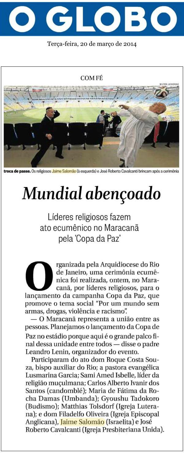 Judeus e outras religiões fazem ato pela paz no Maracanã