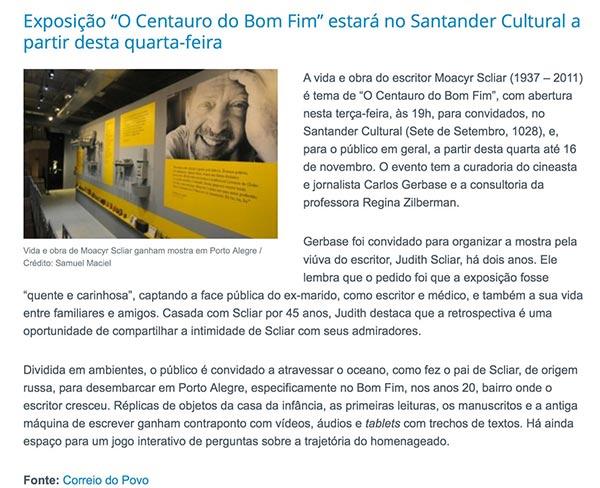 Moacir Scliar em Exposição em Porto Alegre