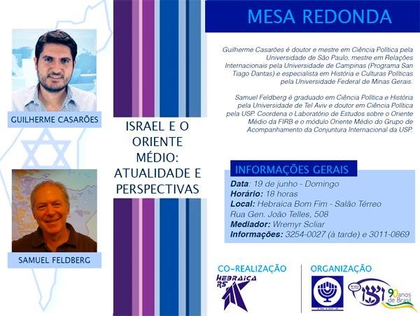 Mesa redonda da B'nai B'rith RS e Wizo - Israel e o Oriente Médio: Atualidades e Perspectivas