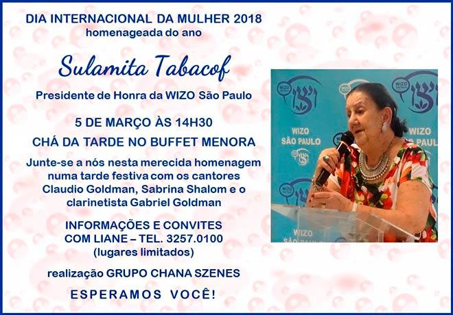 Wizo homenageia Sulamita Tabacof no Dia Internacional da Mulher